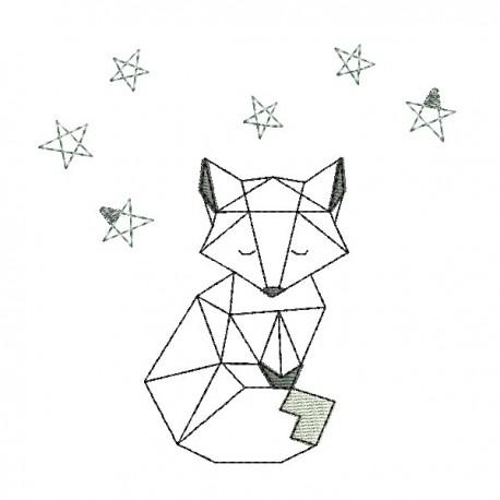 Motif de broderie machine renard origami – croquis