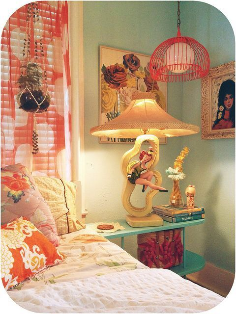 Retro bedroom full of vintage furniture and decorating accessories  This is  how Kitsch chic is done  That is an amazing Reglor lamp with original shade. Loooooveeee    Design   Kitsch House   Pinterest   Kitsch  Mid