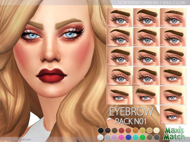 Sims 4 CC's - The Best: Maxis Match Eyebrow Pack N01 by