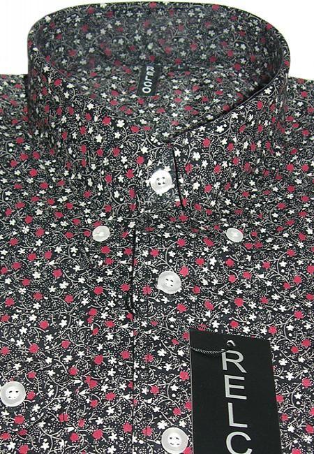 Relco Platinum Purple//Grey Retro Print 100/% Cotton Shirt … …