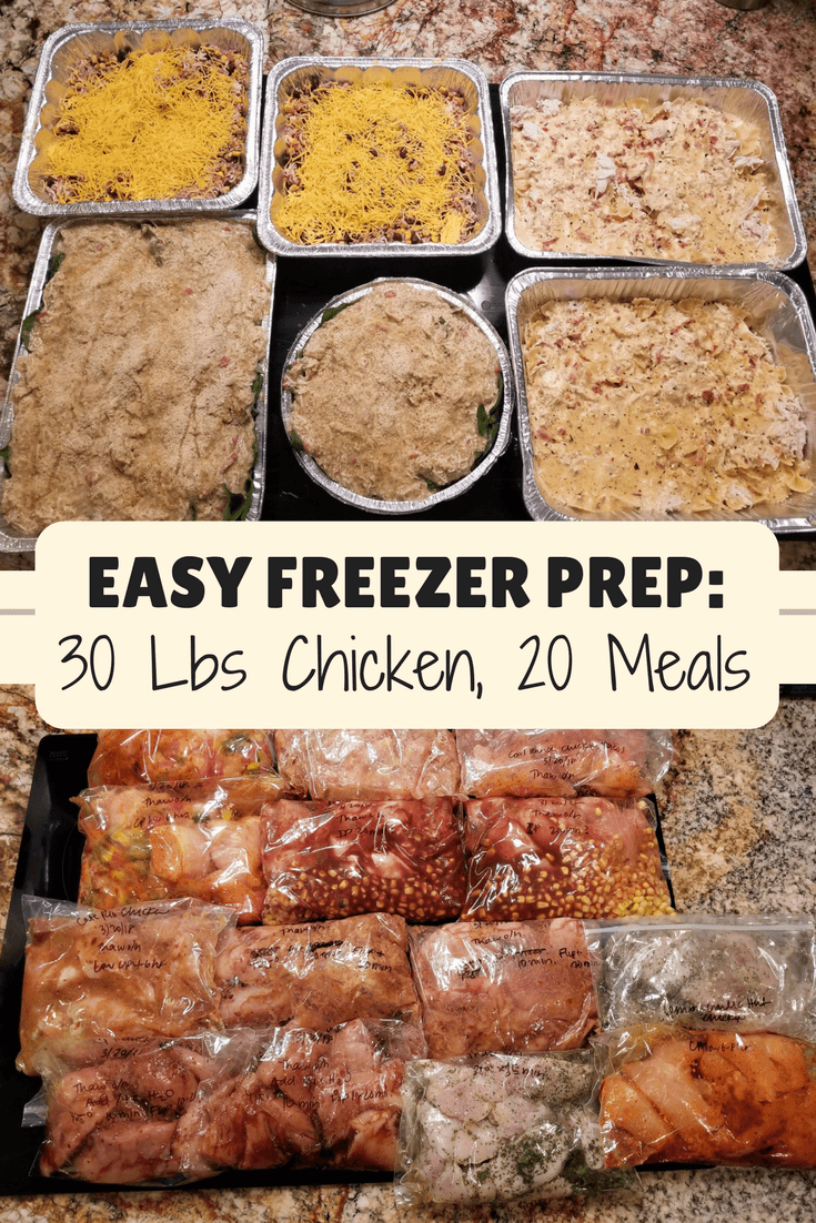 Freezer Meal Prep With 30 Lbs of Chicken - Easy Recipes #crockpotmealprep
