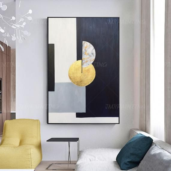 Abstract Geometric art Acrylic Painting On Canvas Original art black and white deep blue Extra Large Wall art Pictures Gold leaf home Decor #framesandborders