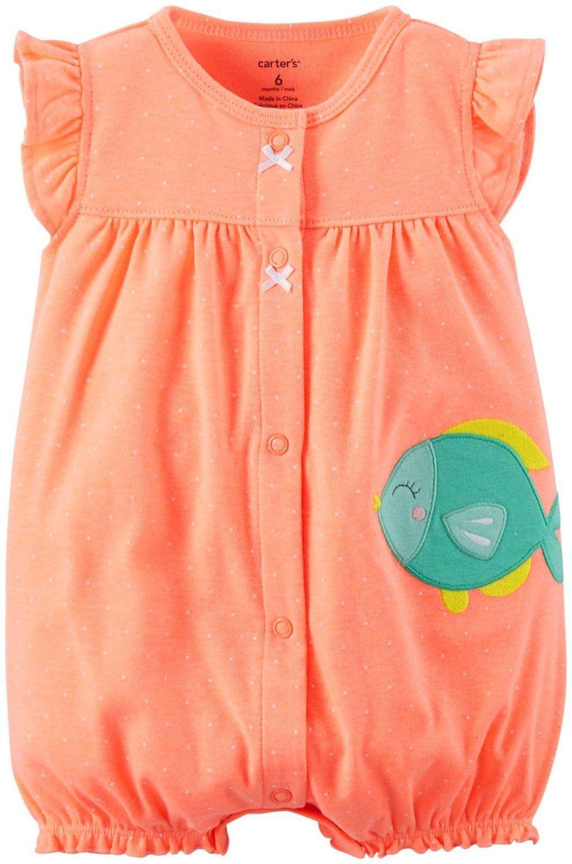 Amazon.com: Carter's Baby Girls 1-piece Appliqué Snap-Up Romper: Clothing