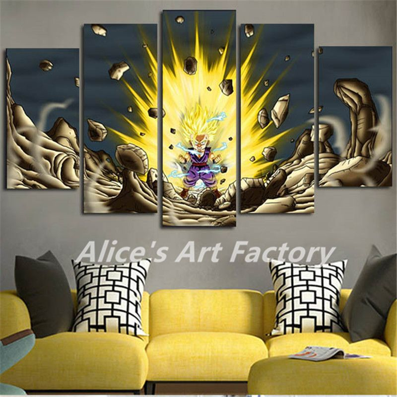 5Planes Oil Painting Cartoon Dragon Ball Canvas Art Modular Wall Art ...