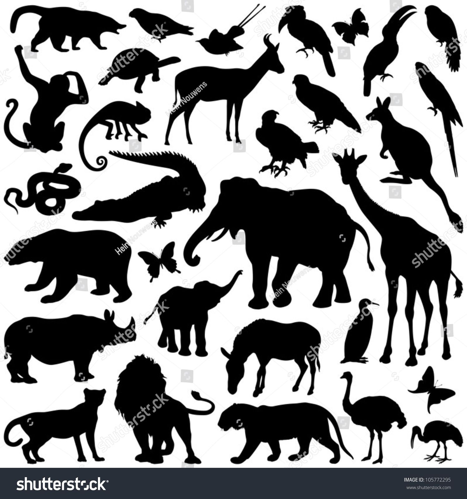 Zoo animals collection vector silhouette (With images