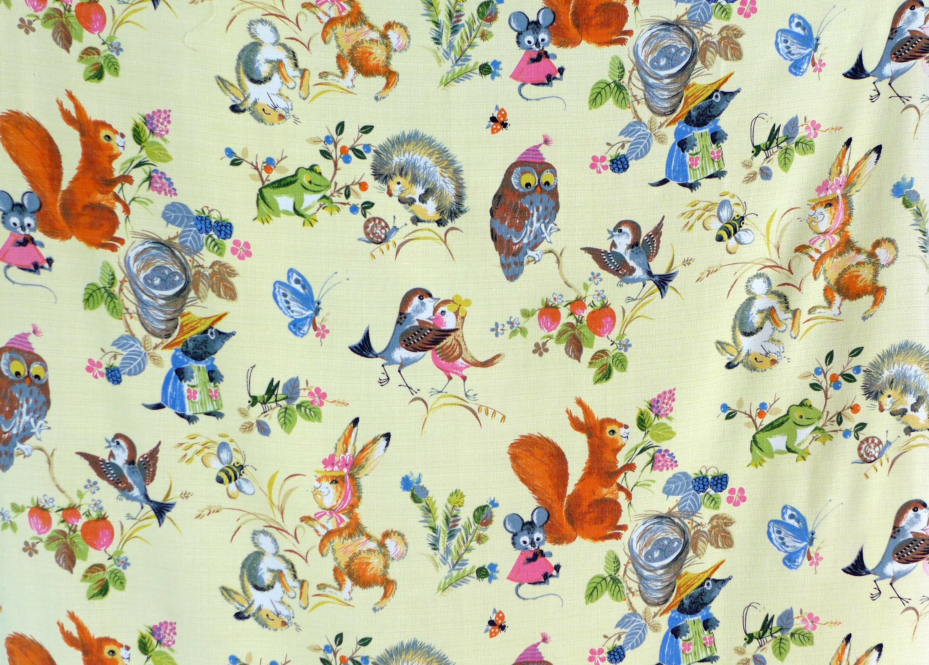 1950 39 s vintage childrens fabric kitsch and cute http