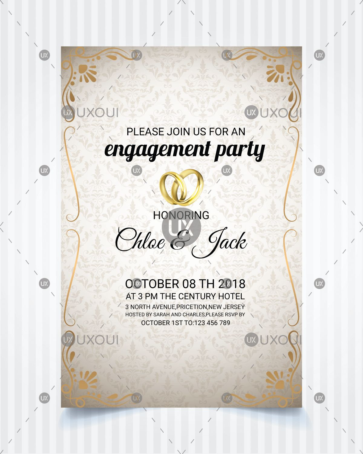 Vintage Style Wedding Engagement Party Invitation Card Template