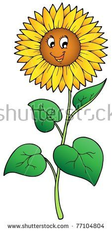Sunflower Cartoon Drawing : sunflower, cartoon, drawing, Cartoon, Sunflower, Vector, Illustration., Illustration,, Flowers,, Drawing