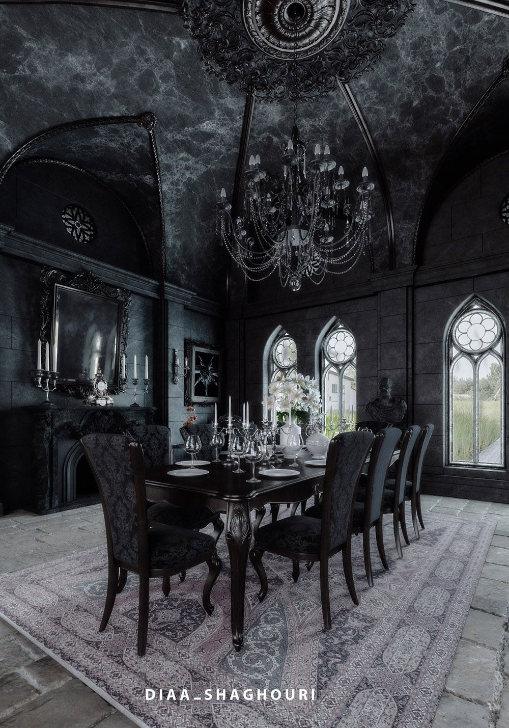 Gothic Black Dining Room Designed And Rendered By Diaa Shaghouri