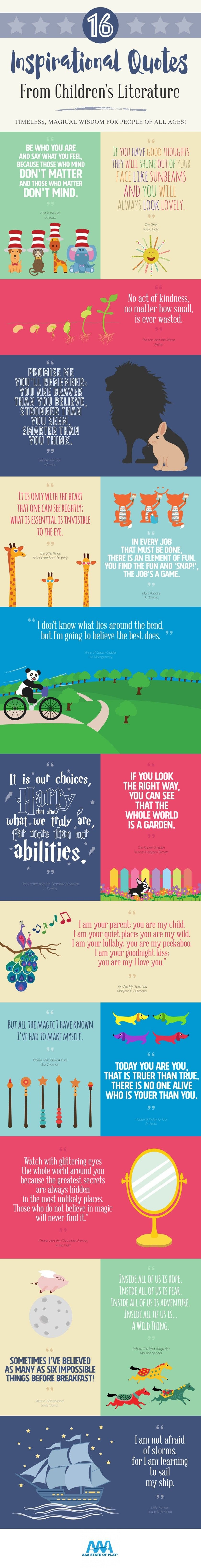 Inspirational Quotes About Loving Children 16 Inspirational Quotes From Children's Books Infographic  Book