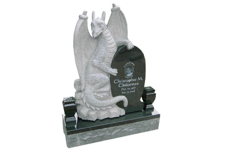 Final product of our first custom dragon headstone.