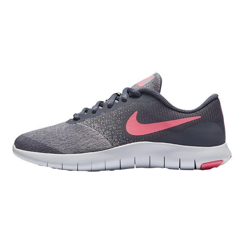 Nike Girls' Flex Contact Grade School Running Shoes Carbon