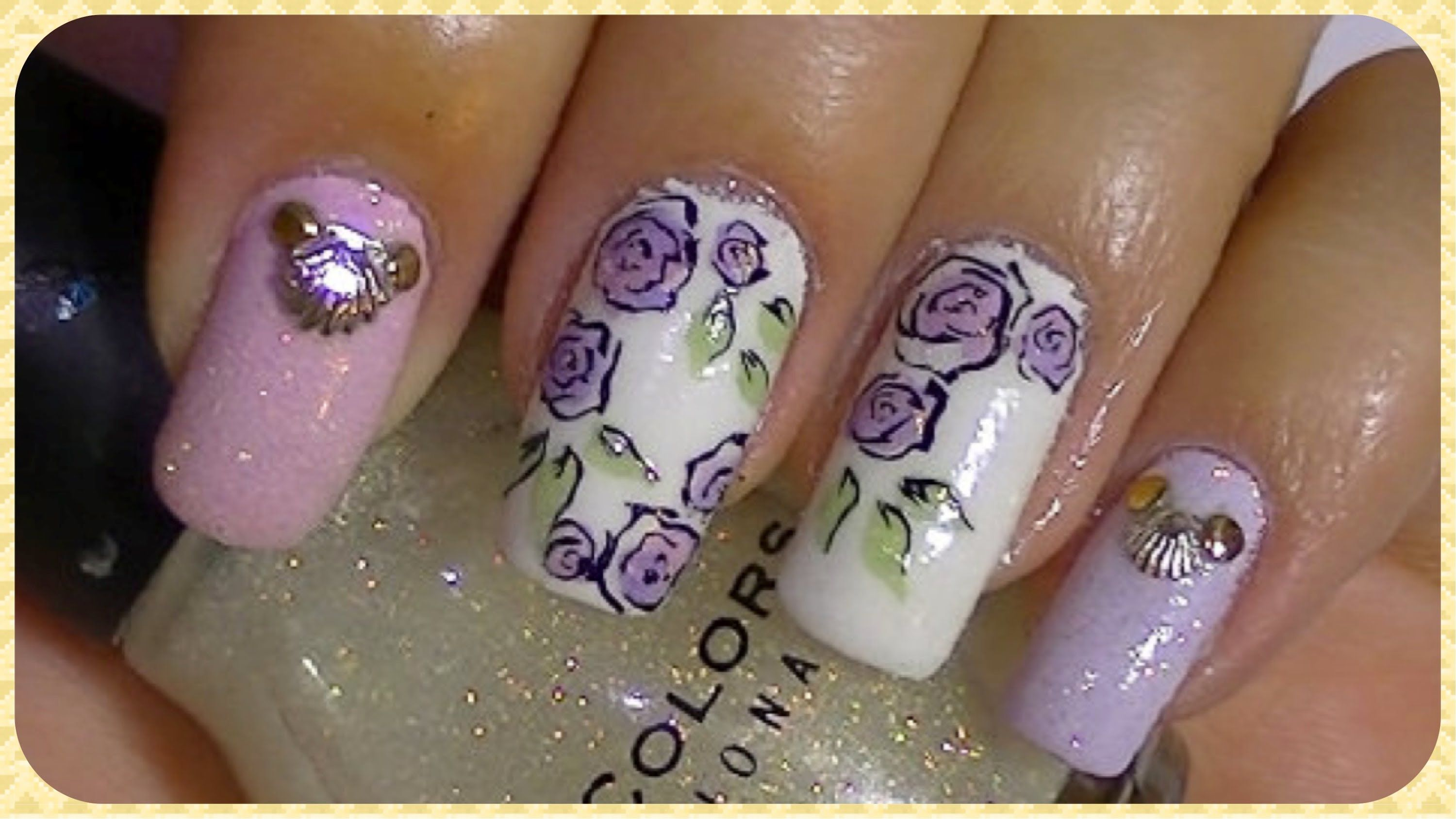 Simple Roses Nail Art Design Tutorial (+playlist) | Nail Art to Try ...