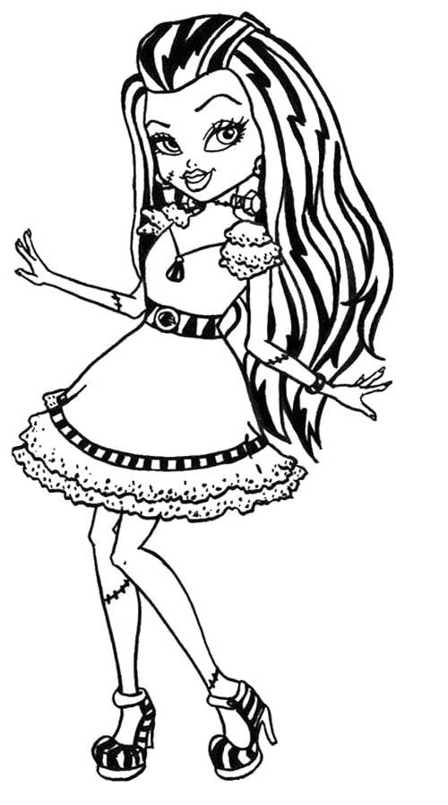 cute frankie stein monster high coloring page monster high