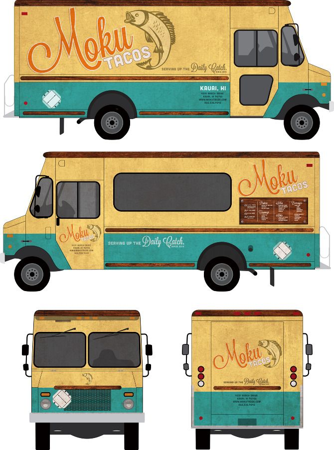 Branding and food truck design for Moku tacos http//www