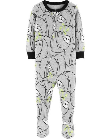 41d1b9f24af7 1-Piece Sloth Snug Fit Cotton PJs