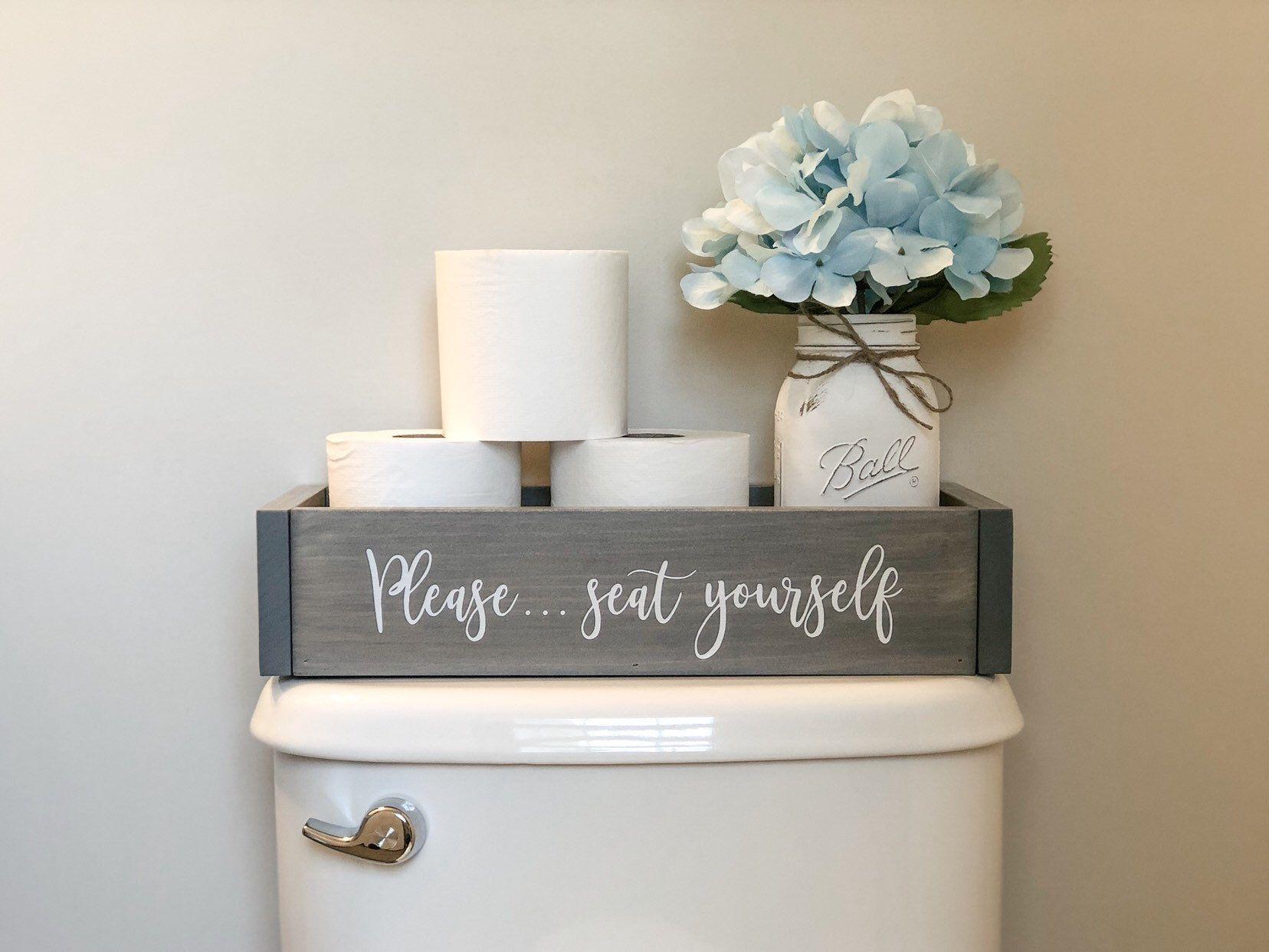 Bathroom decor box wood toilet paper holder bathroom