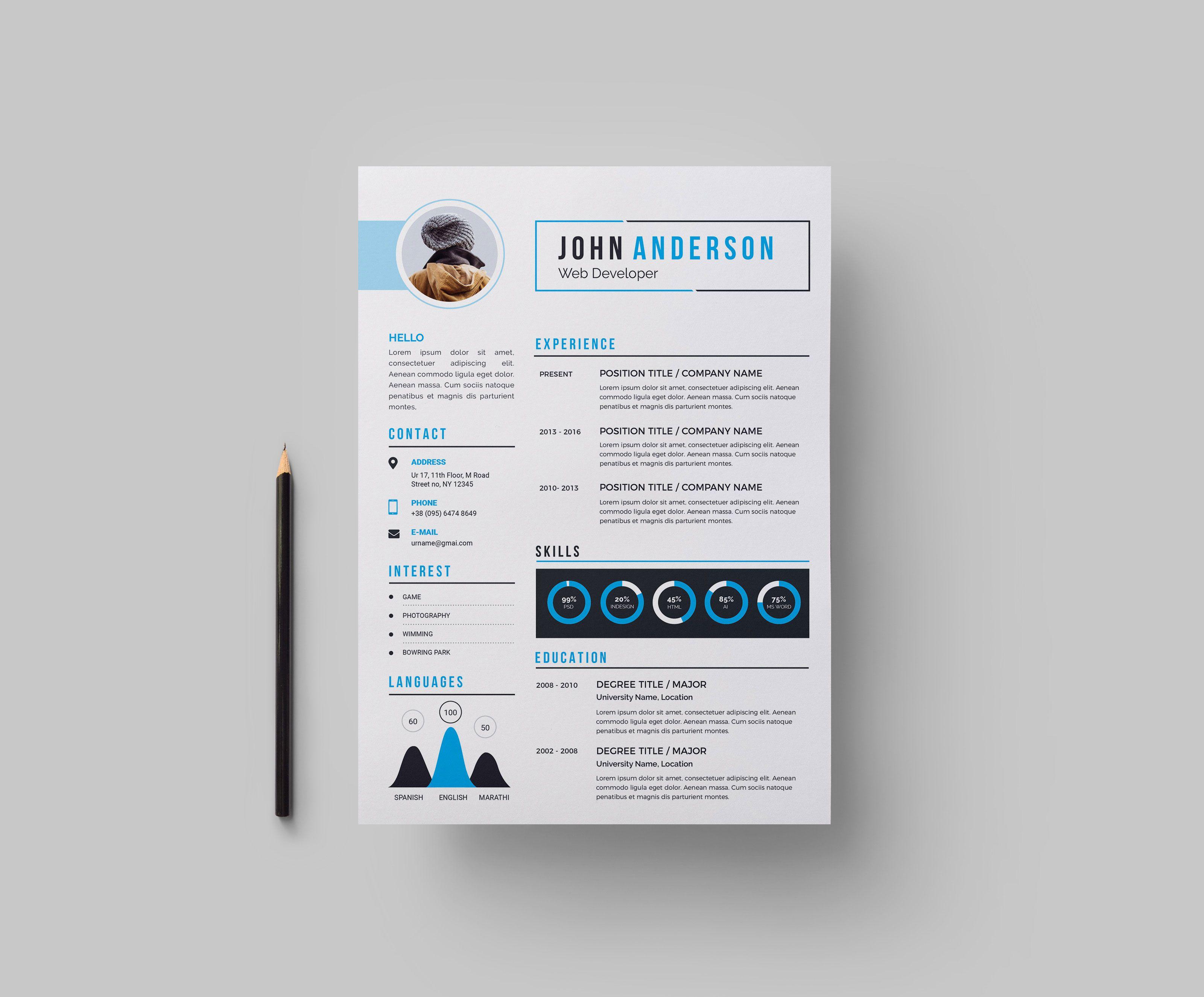 Stylish Cv Design Template Graphic Templates Cv Design Template Cv Design Resume Design Template
