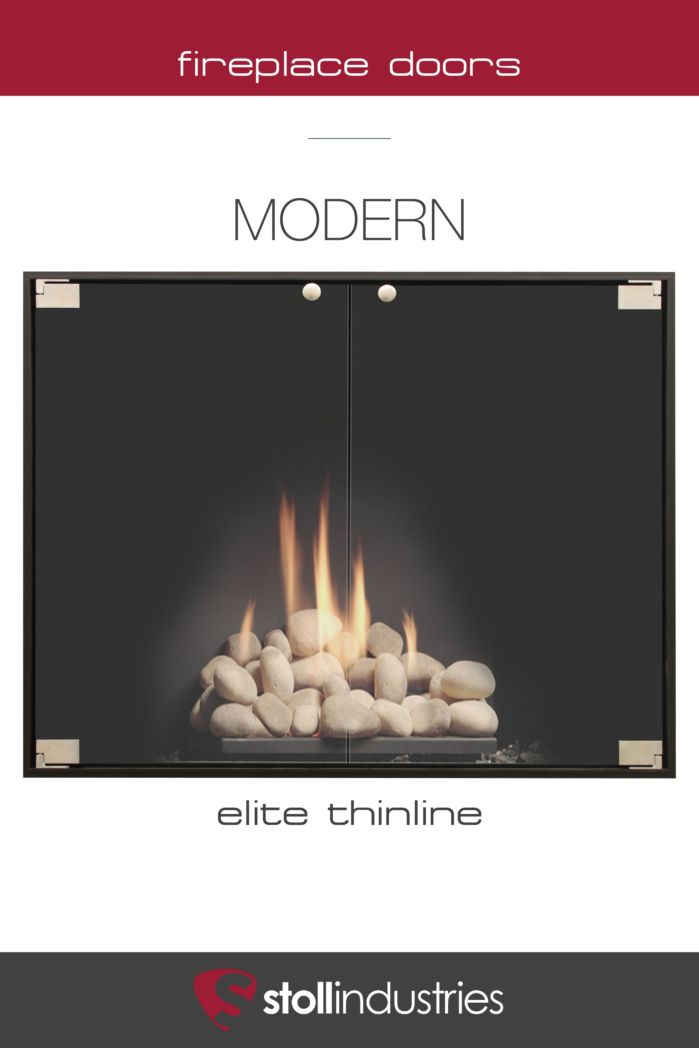 Modern Glass Fireplace Screens Elite Thinline Minimalist Modern Fireplace Door By Stoll
