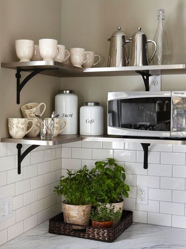 Microwave Shelf Open
