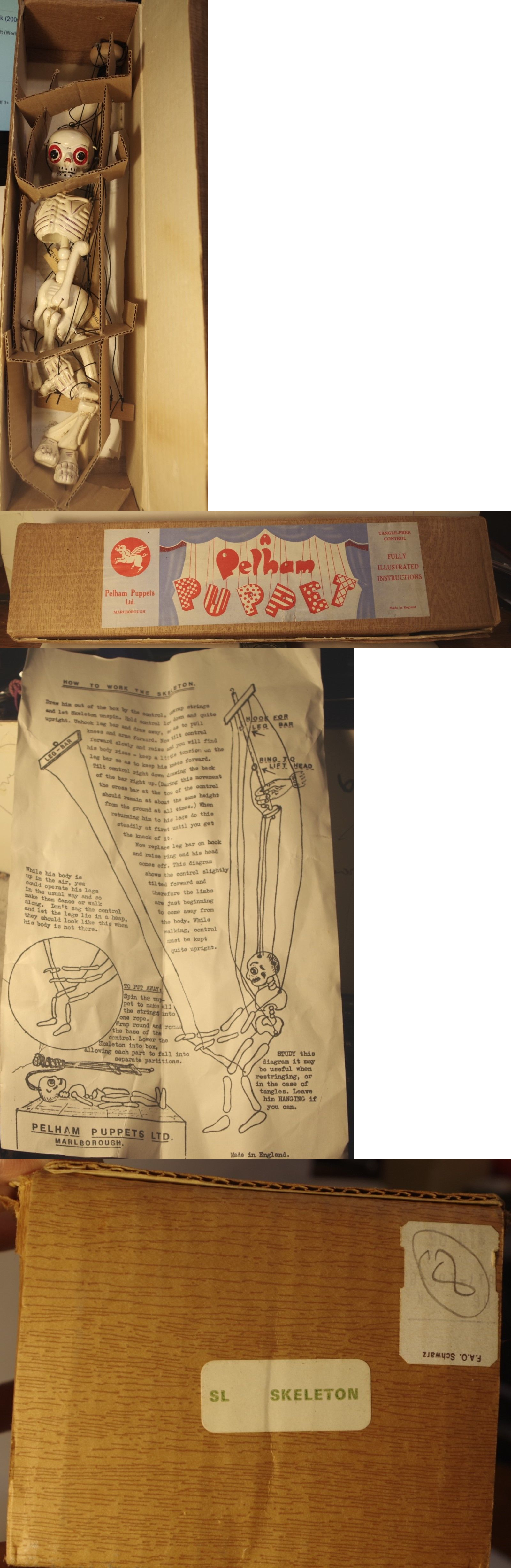 1950 toys images  Windup Toys  Vintage  S Pelham Skeleton Puppet With Box
