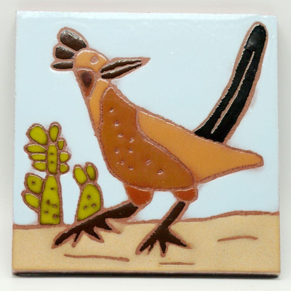 Southwest Roadrunner Trivet Pottery Wall Art Tile Cactus Bird Desert 6 X 6 Unbranded Southwestern Tile Art Art Bird Art