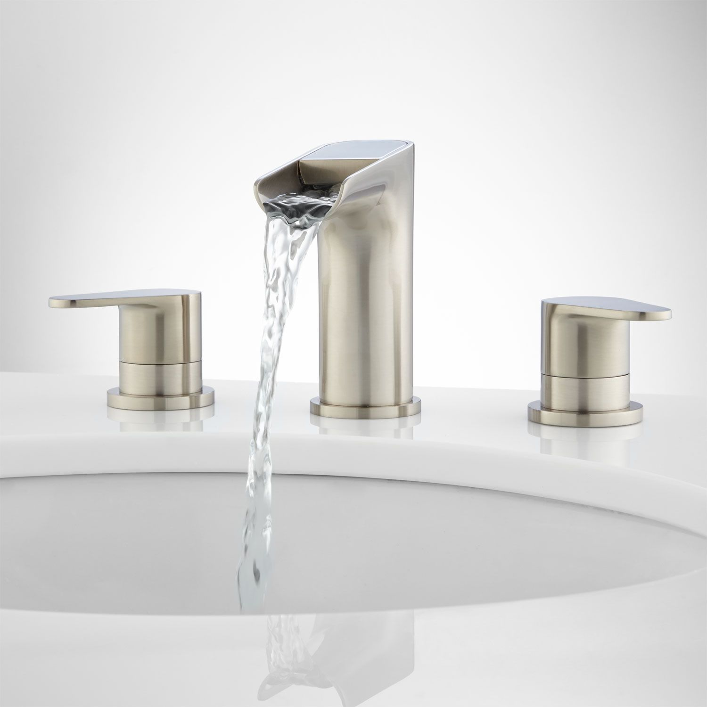36 Celebration Console Vanity For Rectangular Undermount Sink Rustic Acacia Ba Bathroom Faucets Waterfall Waterfall Faucet Bathroom Faucets Brushed Nickel