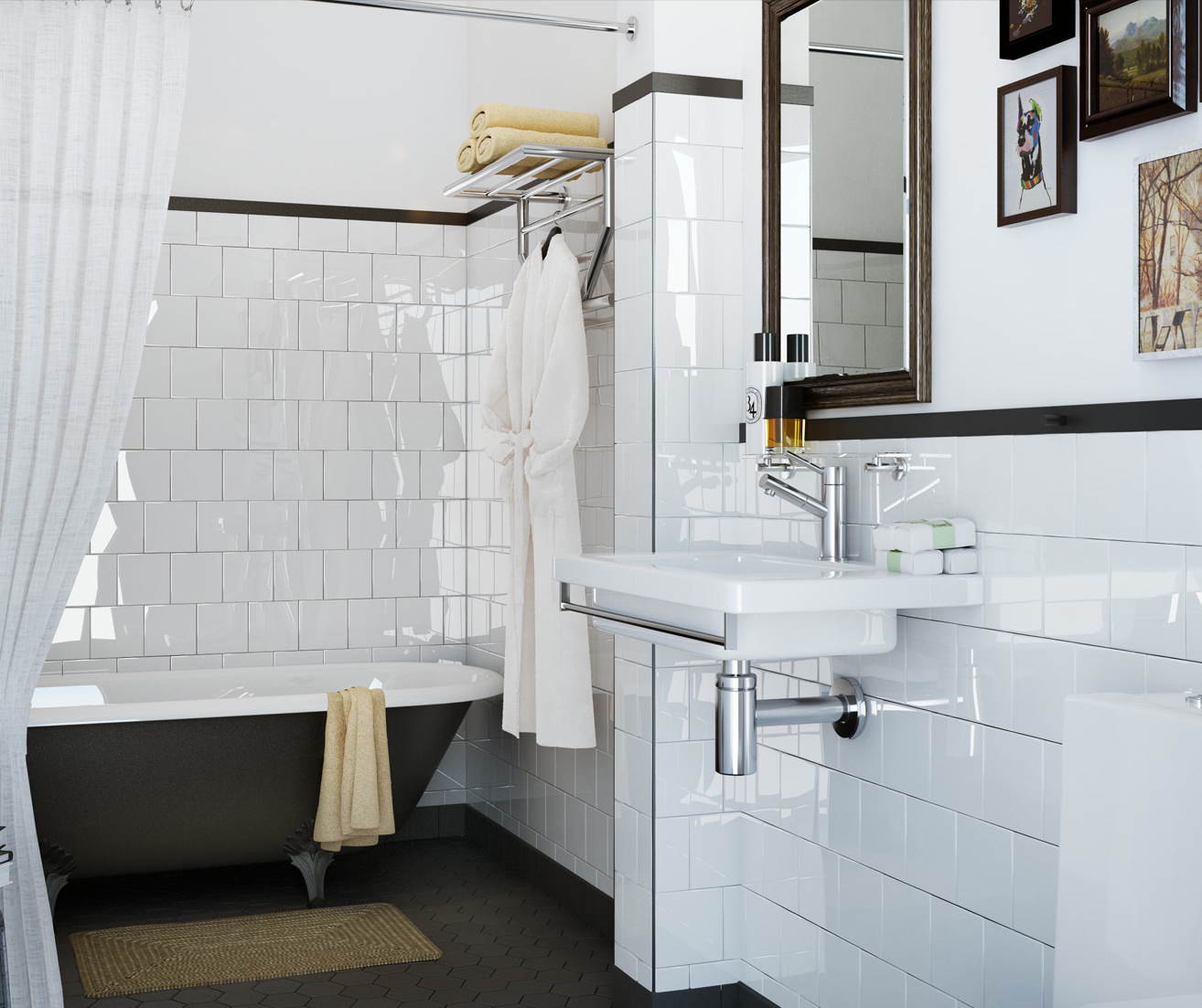 Gray Honeycomb Tile Floors With Subway Tile Walls Painted Walls So - Honeycomb tile bathroom