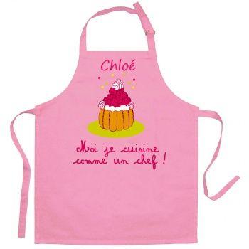 Tablier Personnalise Fille Je Cuisine Comme Un Chef Rose