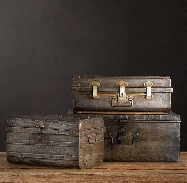Vintage iron trunks