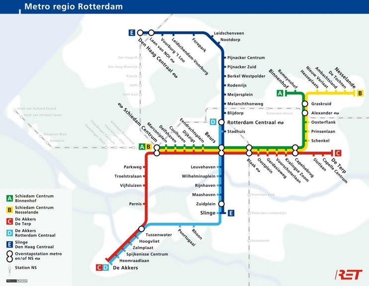 Rotterdam metro map Maps Pinterest Rotterdam and City