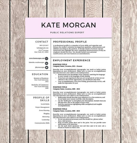 Creative Resume Template For Word  Resume  Extras Template