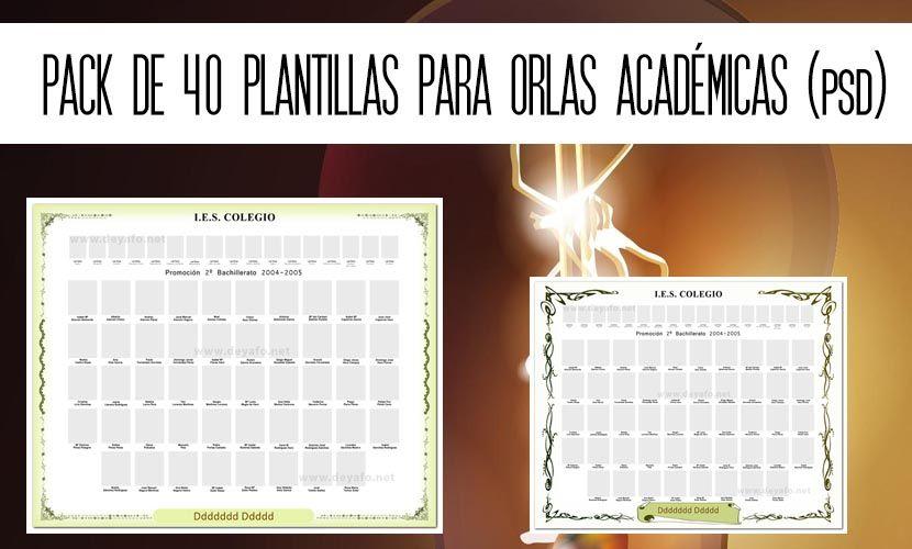 de 40 plantillas para orlas académicas en PSD
