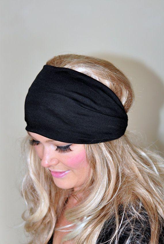 Black Headband Women Headband Stretch Hair Scarf Headwrap CHOOSE COLOR  Helmet Jersey Gym Hair Covering Yoga Head wrap f0dcf110f91