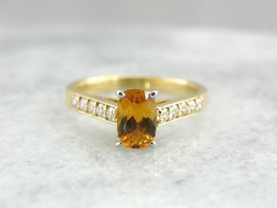 Golden Sapphire Ring with Diamond Accents