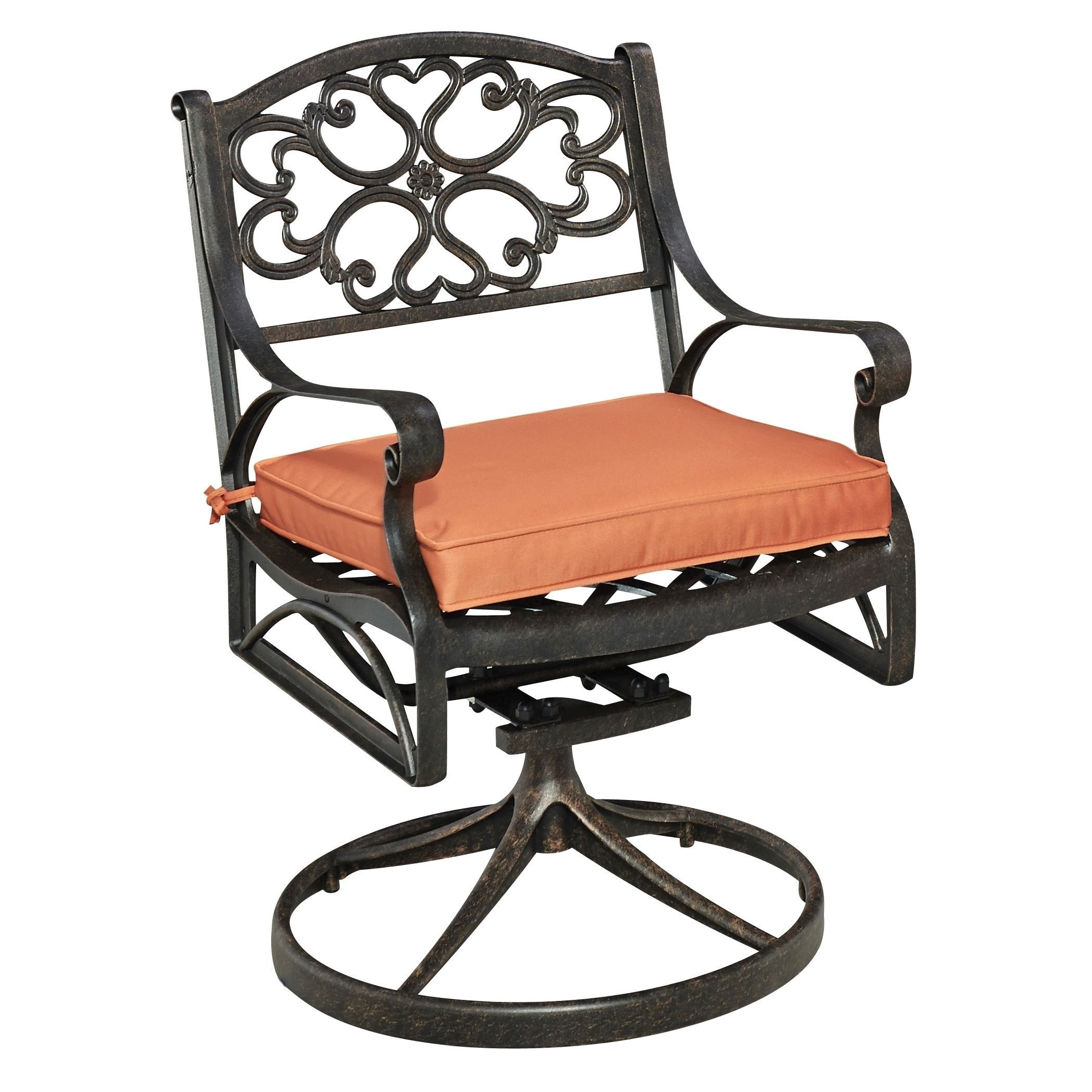 Refresh Your Out Dated Patio Chair With This Home Styles Biscayne Rust Bronze Swivel Cast Aluminum Outdoor Dining C Cushion