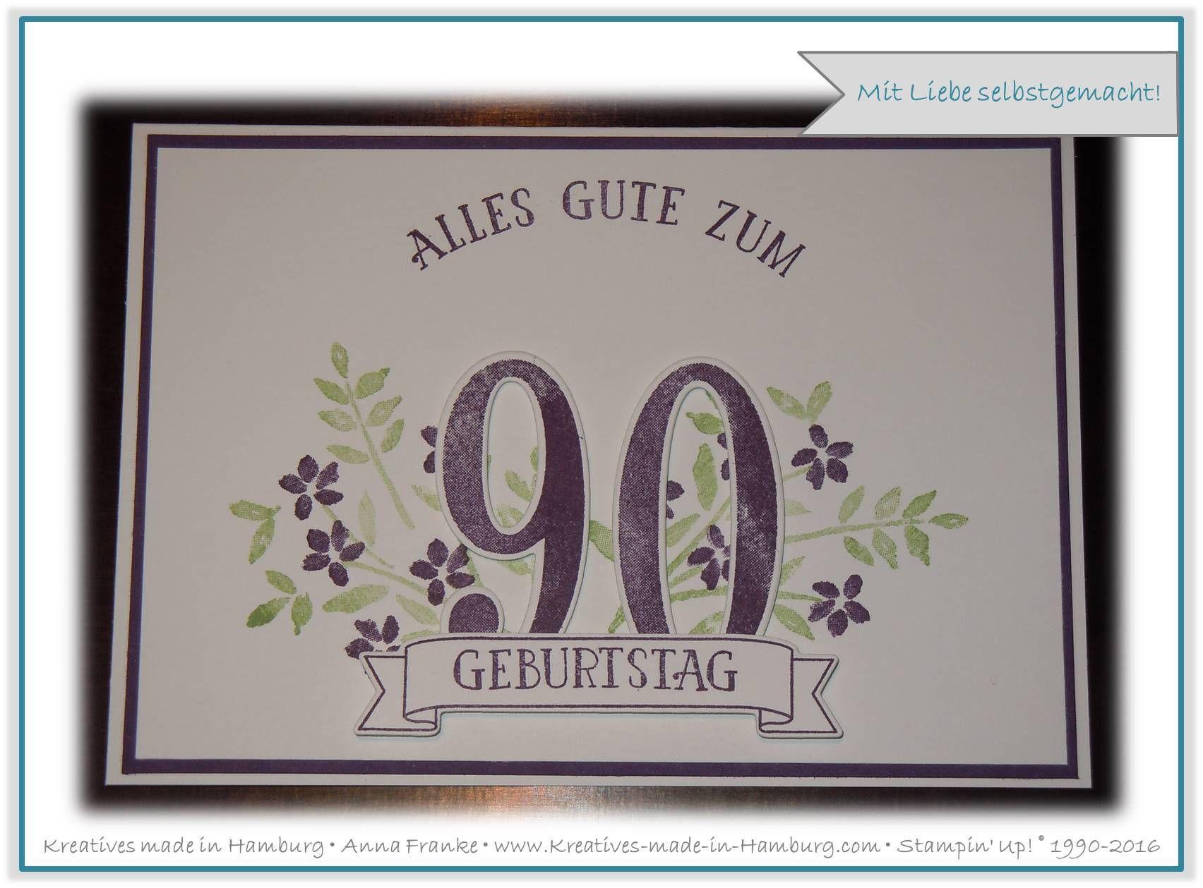 Karte Zum 90 Geburtstag Birthday Card For A 90th Birday