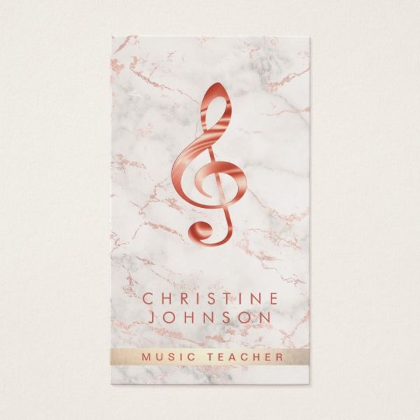 Elegant faux rose gold treble clef music teacher business card elegant faux rose gold treble clef music teacher business card custom professional business cards for teachers reheart Gallery
