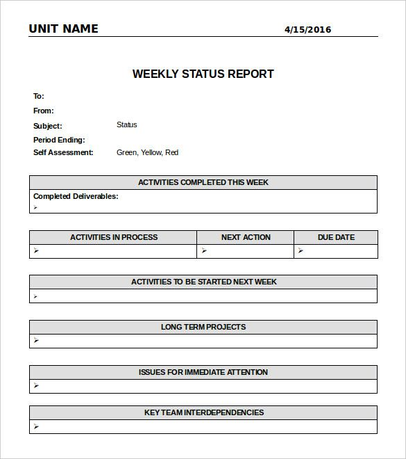 Weekly Status Report Template Word from i.pinimg.com