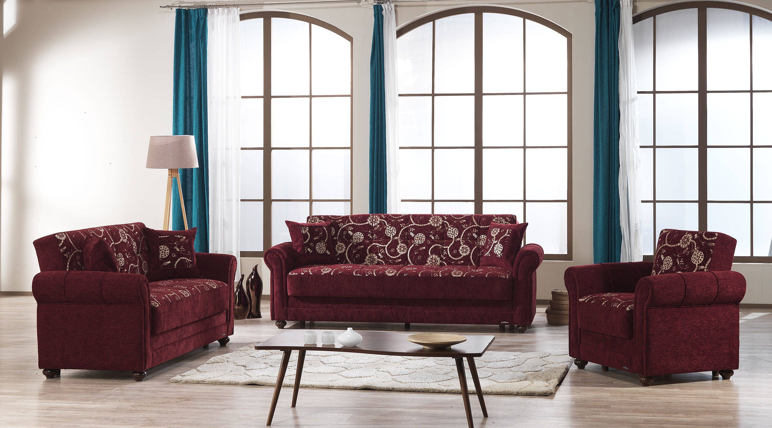 Room · Regina Home Burgundy Fabric MDF Plywood 3pc Living Room Set