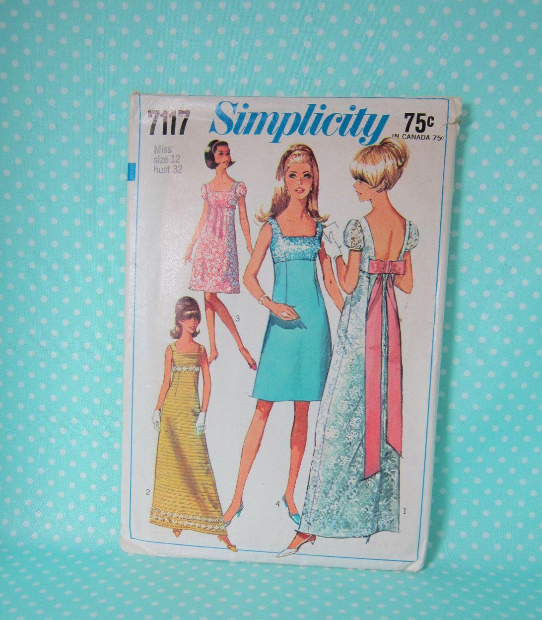 Vintage 1960s Prom Dress Pattern Simplicity 7117 Size 12 Bust 32 Vintage Bridesmaid Vintage Formal Dress Pattern 1967 Cheapest Shipping Prom Dress Pattern Vintage Formal Dresses Simplicity Patterns Dresses [ 1248 x 1092 Pixel ]