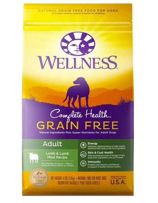 Wellness Complete Grain Free Lamb Adult Dog Dry Food 4 Lbs Dry