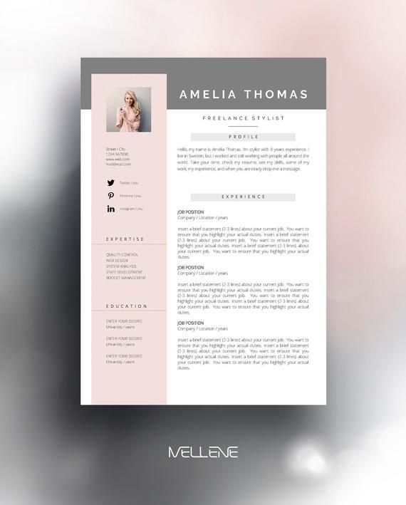 Resume Template 3 Page Cv Template Cover Letter Instant Download For Ms Word Amelia Cv Template Resume Template Resume Design