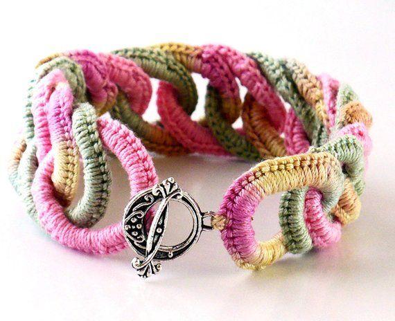 Threads And Fibers Mail: Irish Crochet Bracelet Fiber Bracelet Faux Chainmail