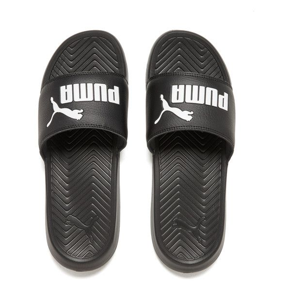Puma Men's Popcat Slide Sandals BlackBlackWhite ($20