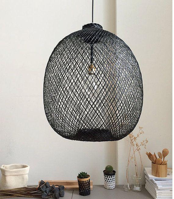 Rustic Pendant Light Black Wabi Sabi Wicker Wood