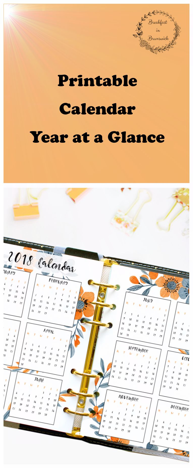 year at a glance 2019 printable a5 planner calendar year on two