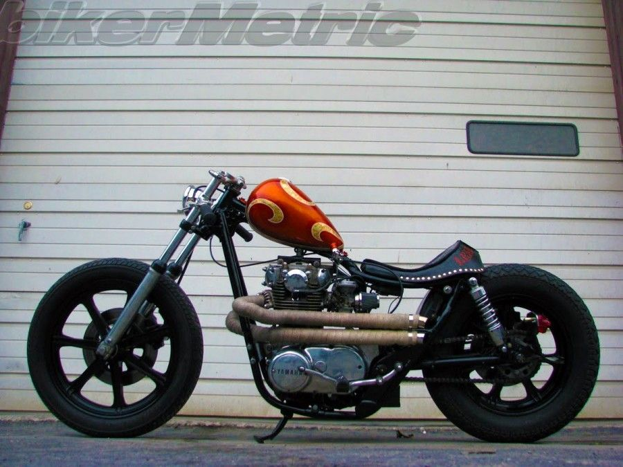 yamaha xs650 bobber parts, free flow exhaust with skin color heat