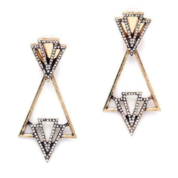 eff93eca80 Fashionable Rhinestone Triangle Earrings (8.89 BAM) ❤ liked on Polyvore  featuring jewelry, earrings, rhinestone earrings, triangle earrings, ...