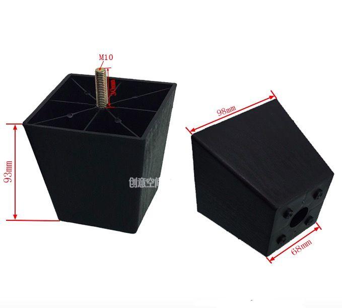 h 93mm m10 schwarz kunststoff quadratische erh hen fu sofa tisch schrank beine f e. Black Bedroom Furniture Sets. Home Design Ideas